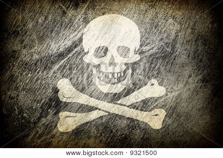 Grunge Rubbed Flag Of Jolly Roger.