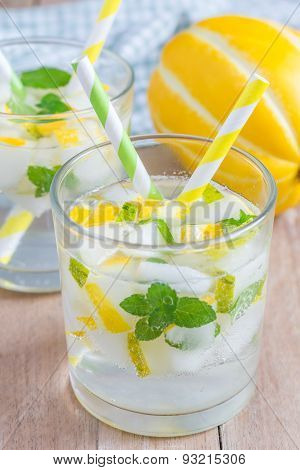 Summer Cocktail From Melon, Mint And Soda Drink