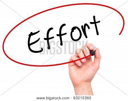 Man hand writing Effort on visual screen.