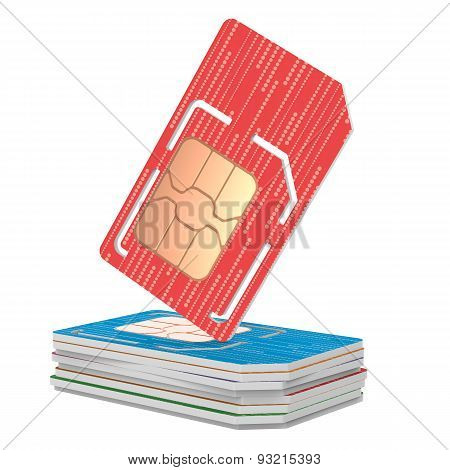 Stack of Sim Cards Illustration, Dual Sized Verstion