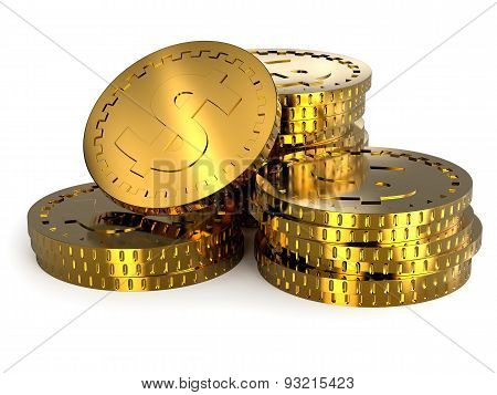 Golden Coins Stacks Illustration.