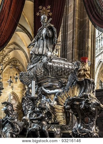 PRAGUE, CZECH REPUBLIC - MAY 2 2015:  The silver tomb of St John Nepomocene, inside St Vitus Cathedral, Prague castle, Czech republic