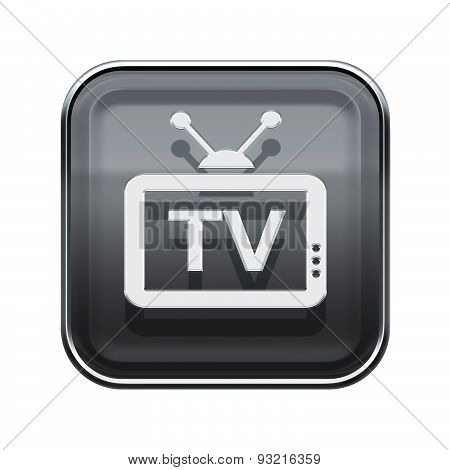 Tv Icon Glossy Grey, Isolated On White Background