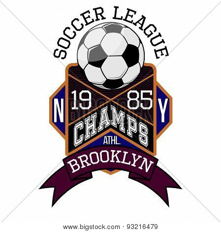 Soccer League New York Champs Brooklyn T-shirt Typography, Vector