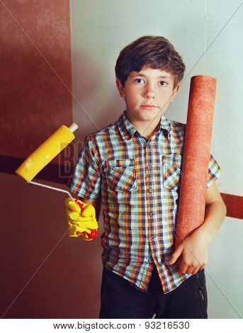 Preteen Handsome Boy With Roll Coaster And Wallpaper