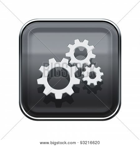 Tools Icon Glossy Grey, Isolated On White Background