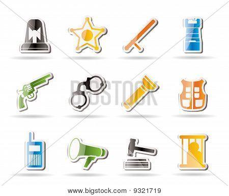 Iconos de ley, el orden, policía y delito simples