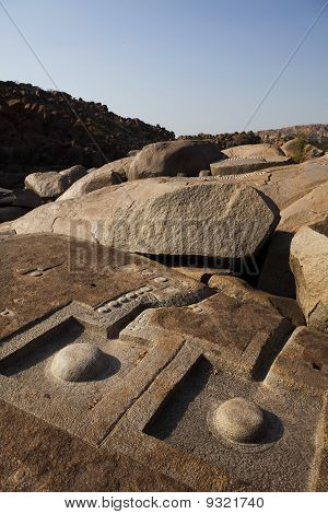 Stone linga carvings, Hampi.