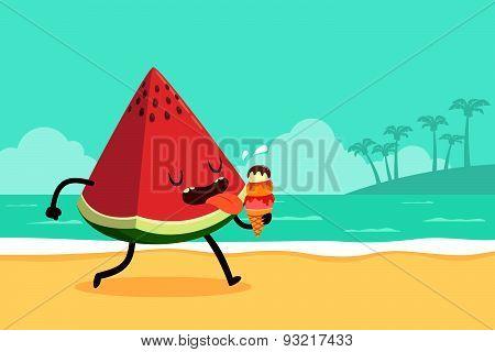 Watermelon Eat Ice Cream At The Beach