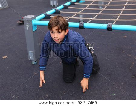 Preteen Handsome Boy  Train In Outdoor Gym Training Ground