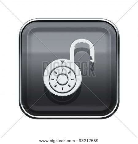 Lock On Icon Glossy Grey, Isolated On White Background.