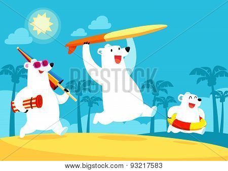 Polar Bear Family On Vacation At The Beach