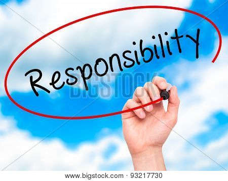Man hand writing Responsibility on visual screen.