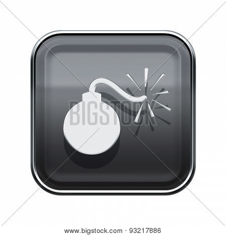 Bomb Icon Glossy Grey, Isolated On White Background