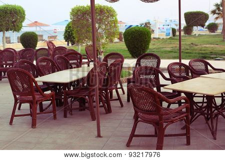 Open Air Restaurant In Egyptian All Inclusive Resort Hotel