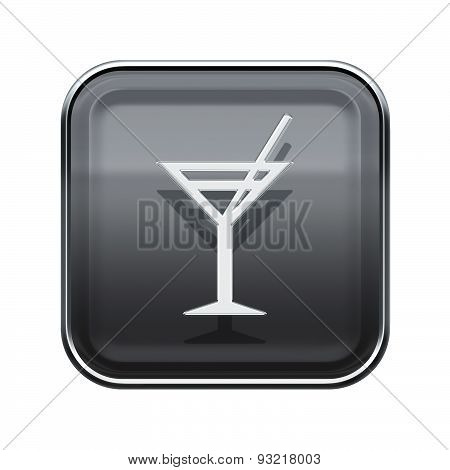 Wineglass Icon Glossy Grey, Isolated On White Background.