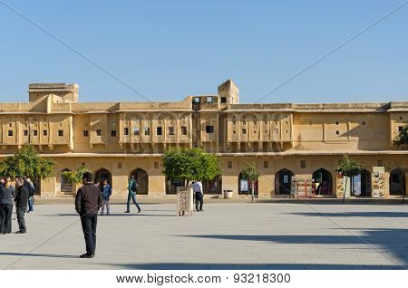 Jaipur, India - December 29, 2014: People Visit Amber Fort Near Jaipur.