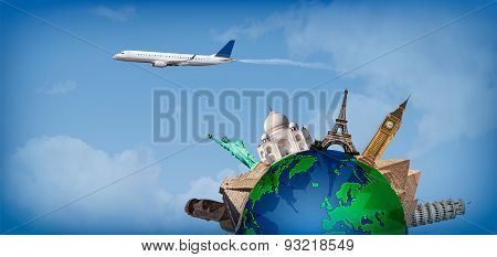 Travel Around The World Concept Airplane