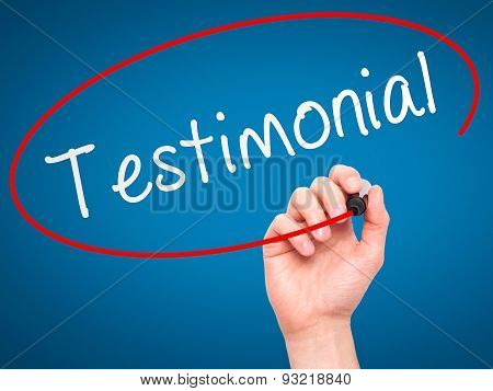 Man hand writing Testimonial on visual screen.