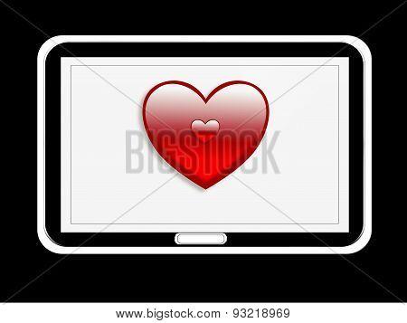 digital tablet with heart symbol