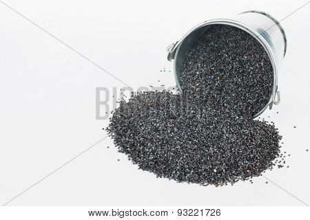 Poppy Seeds Spilling Out Of Bucket