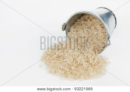 Rice Grains Spilling Out Of Bucket