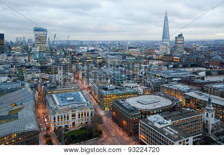 LONDON, UK - JANUARY 27, 2015: City of London, business and banking area. London's panorama at sun s