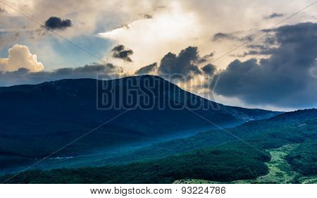 Sunset View On Mountain In Crimea