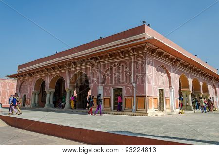 Jaipur, India - December 29, 2014: Tourist Visit The City Palace Complex