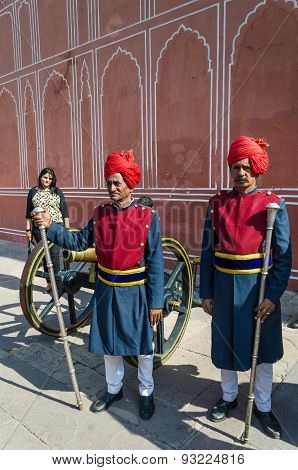 Jaipur, India - December 29, 2014: Two Guards In Traditional Dress At The Entrance Of The City Palac
