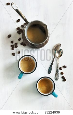 Cups Of Coffee And Coffee Pot. Top View