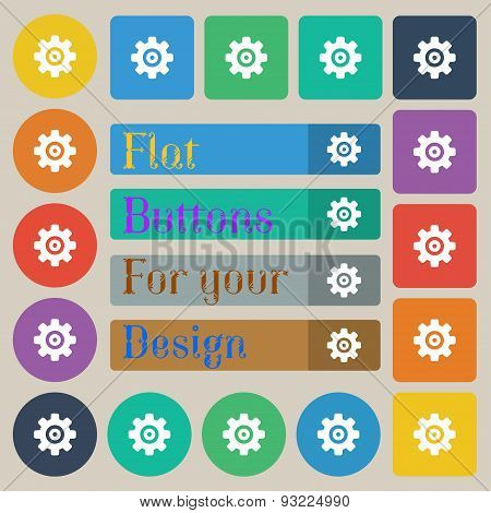 Cog Settings, Cogwheel Gear Mechanism  Icon Sign. Set Of Twenty Colored Flat, Round, Square And Rect