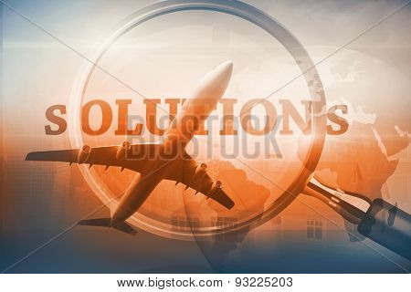 Graphic airplane against magnifying glass showing solutions word