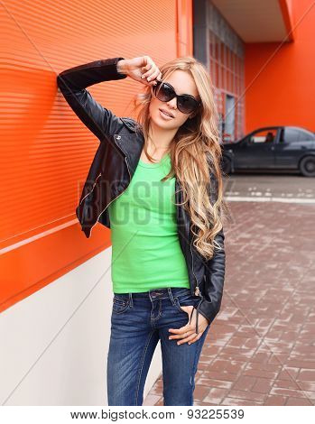 Fashion Portrait Of Pretty Woman In Rock Black Style, Wearing A Sunglasses And Leather Jacket Posing