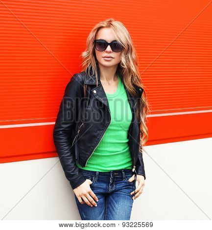 Fashion Portrait Of Pretty Young Woman In Rock Black Style, Wearing A Sunglasses And Leather Jacket