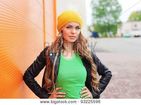 Outdoor Fashion Portrait Of Beautiful Blonde Woman Wearing A Black Rock Leather Jacket And Hat In Th