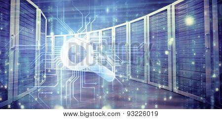 Digitally generated black and blue matrix against composite image of server towers