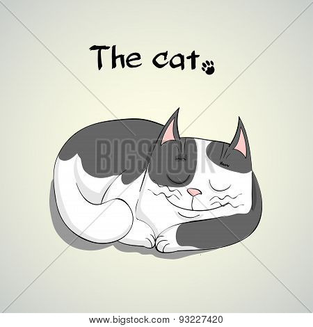 Vector Illustration of Cute sleeping smiling cat