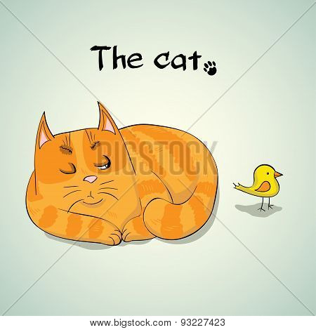 Vector Illustration of Cute Red hunting cat