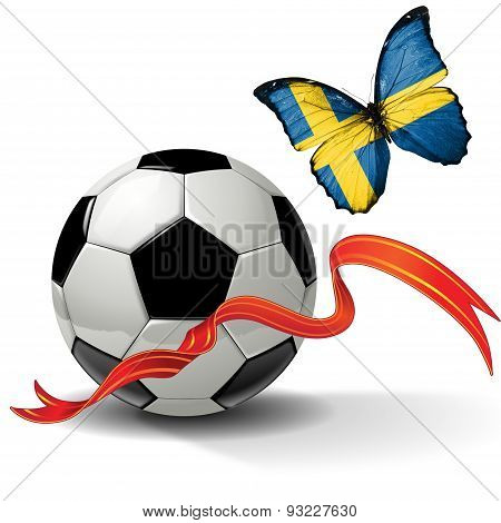 Soccer ball with ribbon and butterfly with the flag of  Sweden