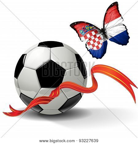 Soccer ball with ribbon and butterfly with the flag of  Croatia