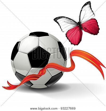 Soccer ball with ribbon and butterfly with the flag of  Poland