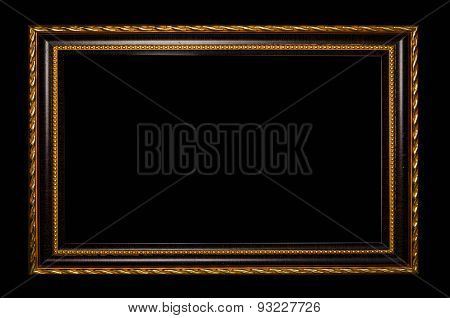 wooden frame for painting or picture on black background