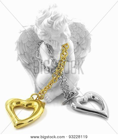 Stainless steel heart necklace with angel