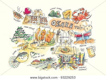 Osaka Japan Drawing Illustration Of Landmark And Must Do Items