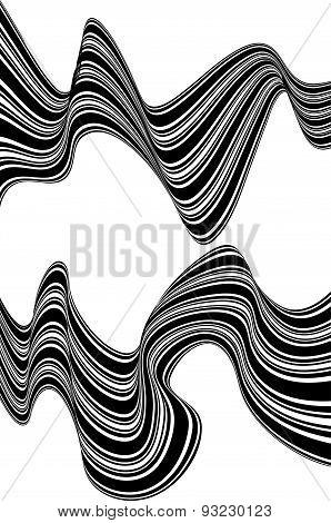 Black And White Mobious Wave Stripe Optical Design