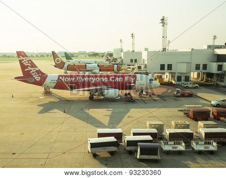BANGKOK THAILAND - April 20 2015: docked flights in Don Mueang Airport. on April 20 2015 in Bangkok Thailand.