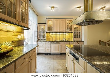 Granitic Countertop In Luxury Kitchen