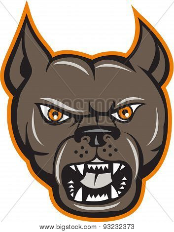 Pitbull Dog Mongrel Head Angry Cartoon
