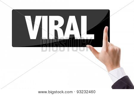 Businessman pressing button with the text: Viral